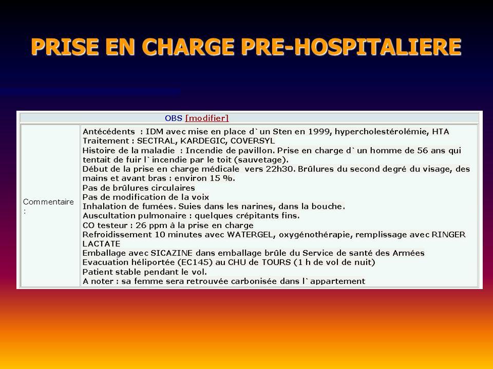 PRISE EN CHARGE PRE-HOSPITALIERE PRISE EN CHARGE PRE-HOSPITALIERE