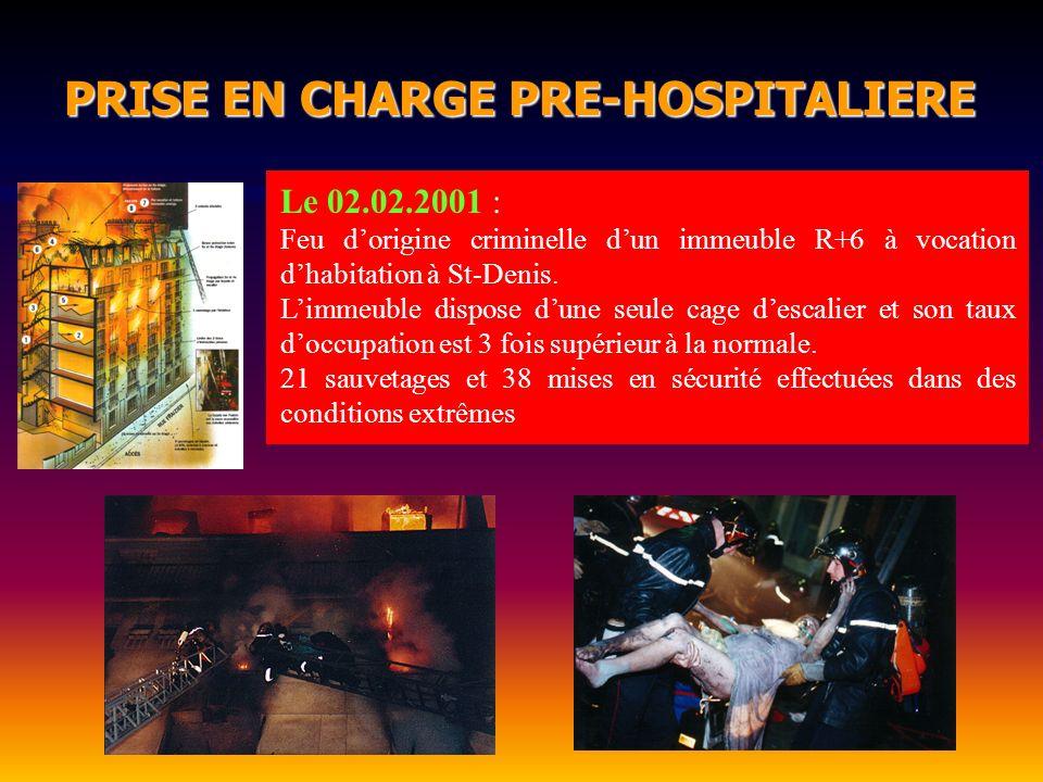 Le 02.02.2001 : Feu dorigine criminelle dun immeuble R+6 à vocation dhabitation à St-Denis. Limmeuble dispose dune seule cage descalier et son taux do