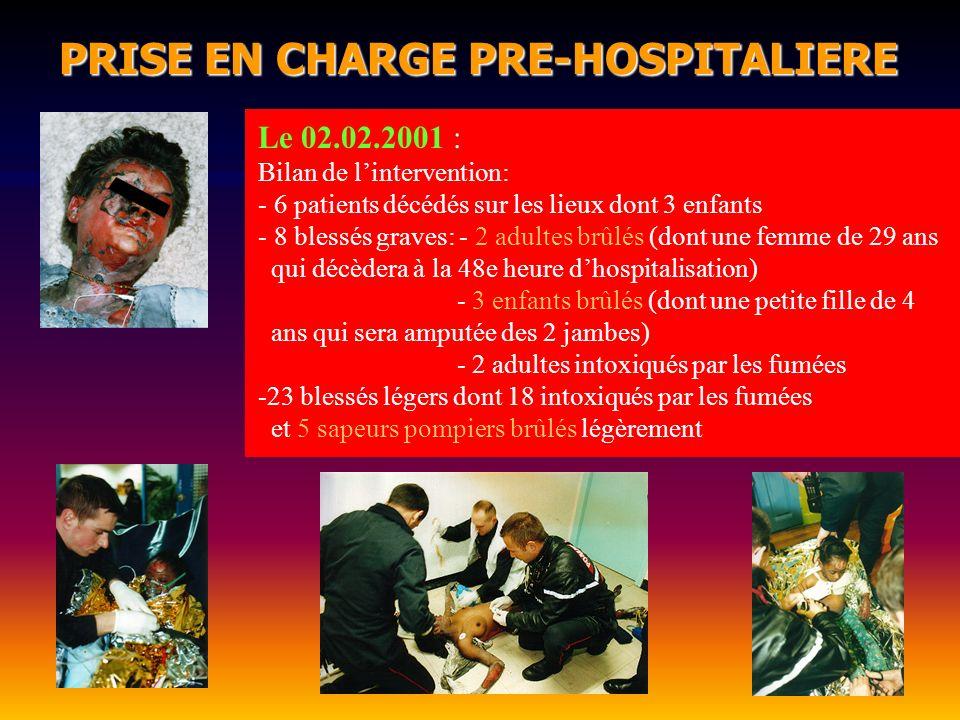 PRISE EN CHARGE PRE-HOSPITALIERE PRISE EN CHARGE PRE-HOSPITALIERE Le 02.02.2001 : Bilan de lintervention: - 6 patients décédés sur les lieux dont 3 en