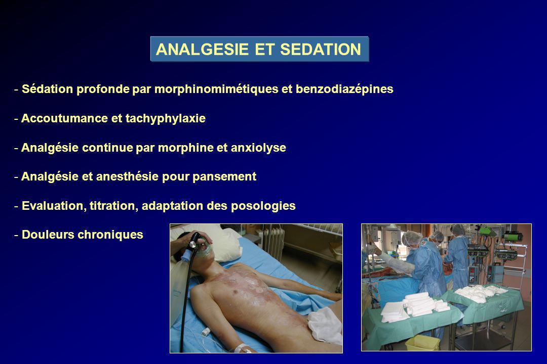 ANALGESIE ET SEDATION - Sédation profonde par morphinomimétiques et benzodiazépines - Accoutumance et tachyphylaxie - Analgésie continue par morphine
