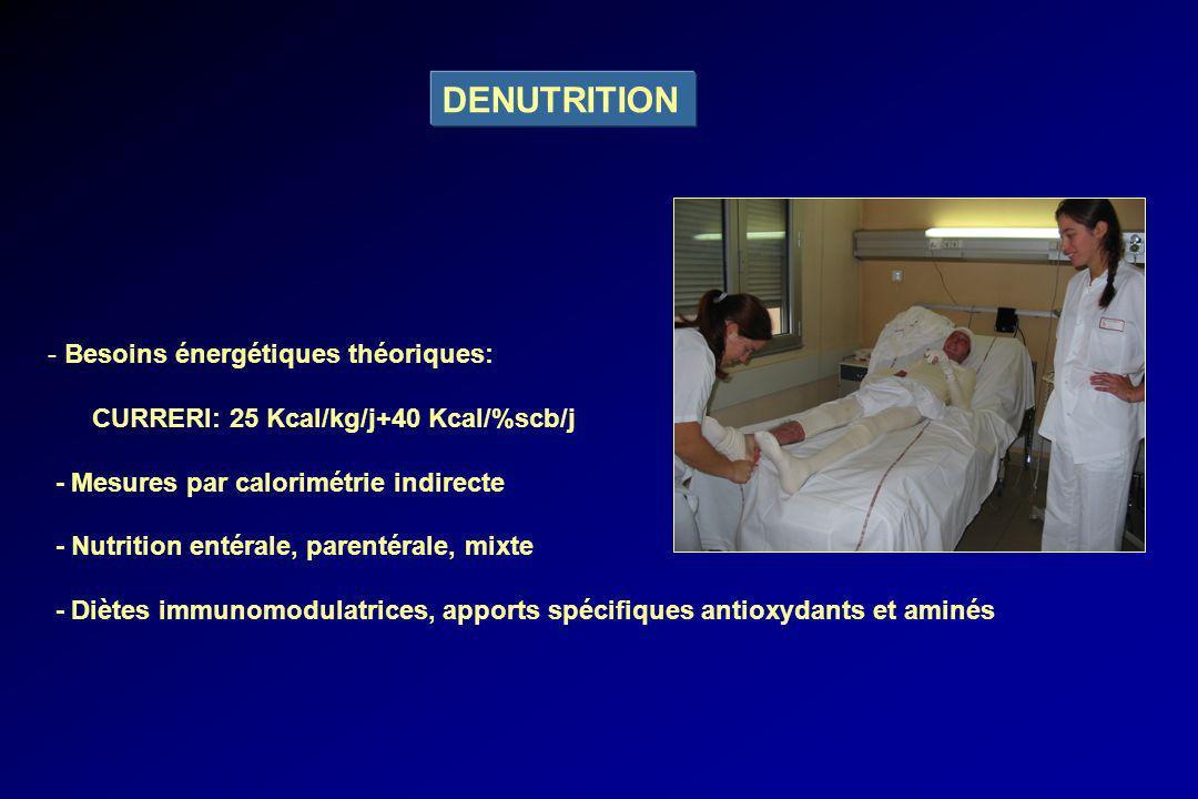 DENUTRITION - Besoins énergétiques théoriques: CURRERI: 25 Kcal/kg/j+40 Kcal/%scb/j - Mesures par calorimétrie indirecte - Nutrition entérale, parenté