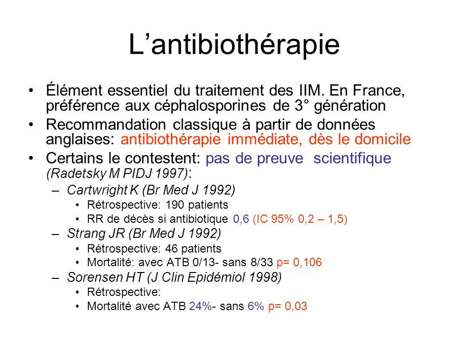 Lantibiothérapie Élément essentiel du traitement des IIM. En France, préférence aux céphalosporines de 3° génération Recommandation classique à partir