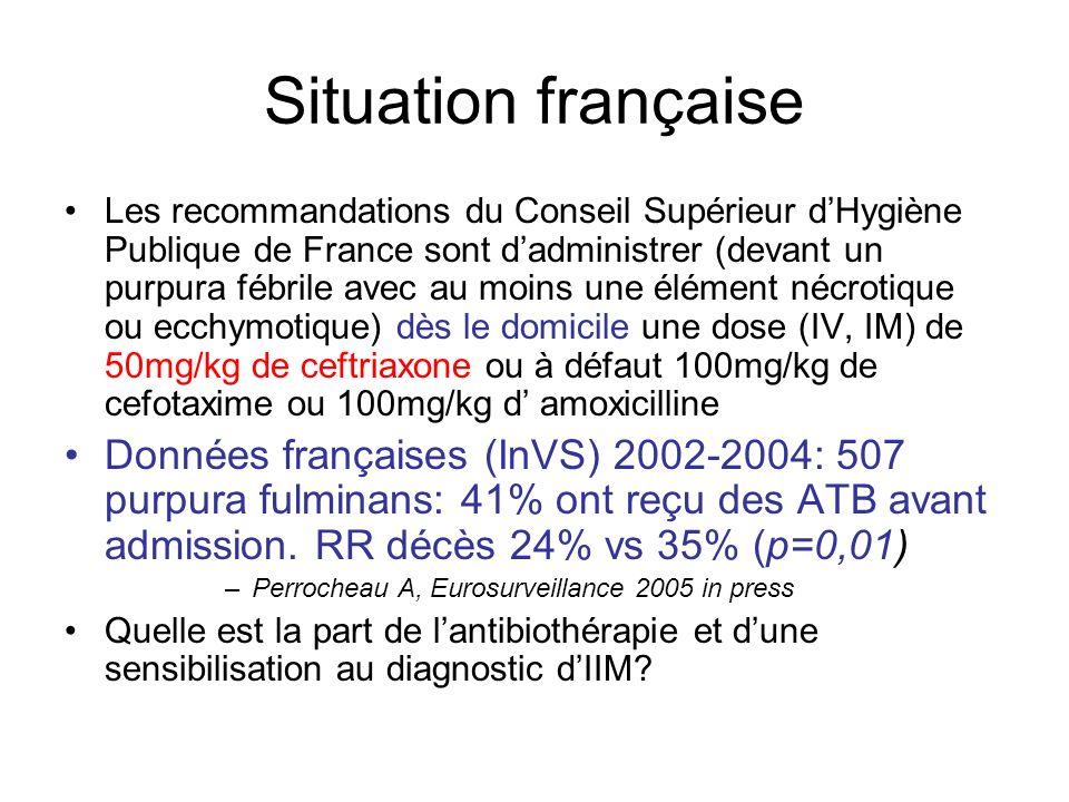 Situation française Les recommandations du Conseil Supérieur dHygiène Publique de France sont dadministrer (devant un purpura fébrile avec au moins un