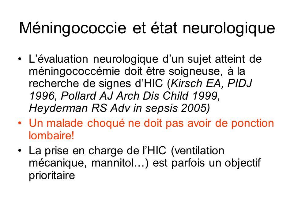 Méningococcie et état neurologique Lévaluation neurologique dun sujet atteint de méningococcémie doit être soigneuse, à la recherche de signes dHIC (K
