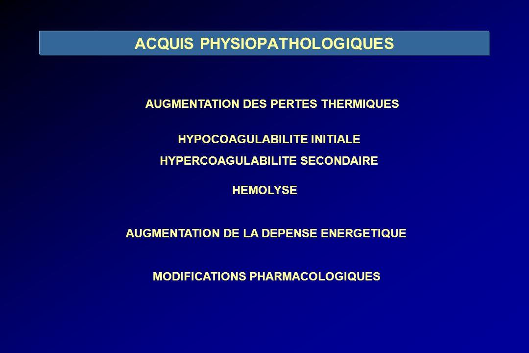 AUGMENTATION DES PERTES THERMIQUES HYPOCOAGULABILITE INITIALE HYPERCOAGULABILITE SECONDAIRE HEMOLYSE AUGMENTATION DE LA DEPENSE ENERGETIQUE MODIFICATI