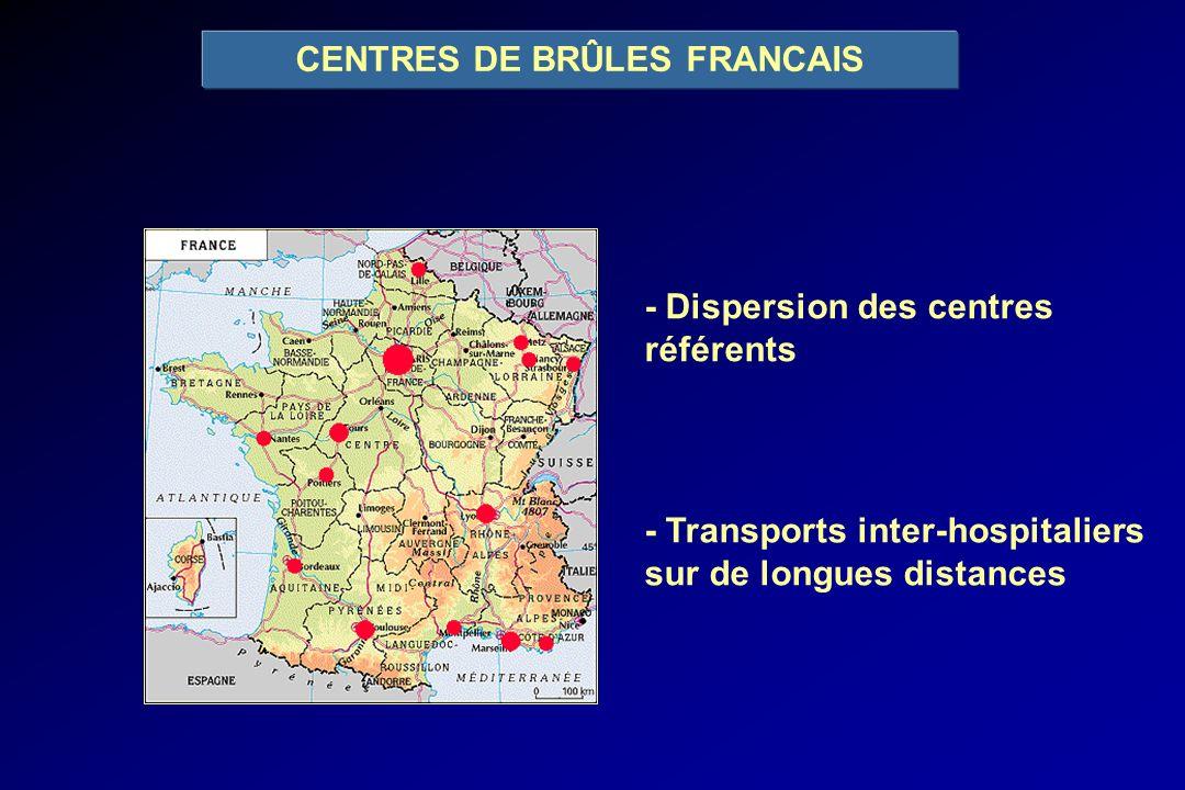 CENTRES DE BRÛLES FRANCAIS - Dispersion des centres référents - Transports inter-hospitaliers sur de longues distances