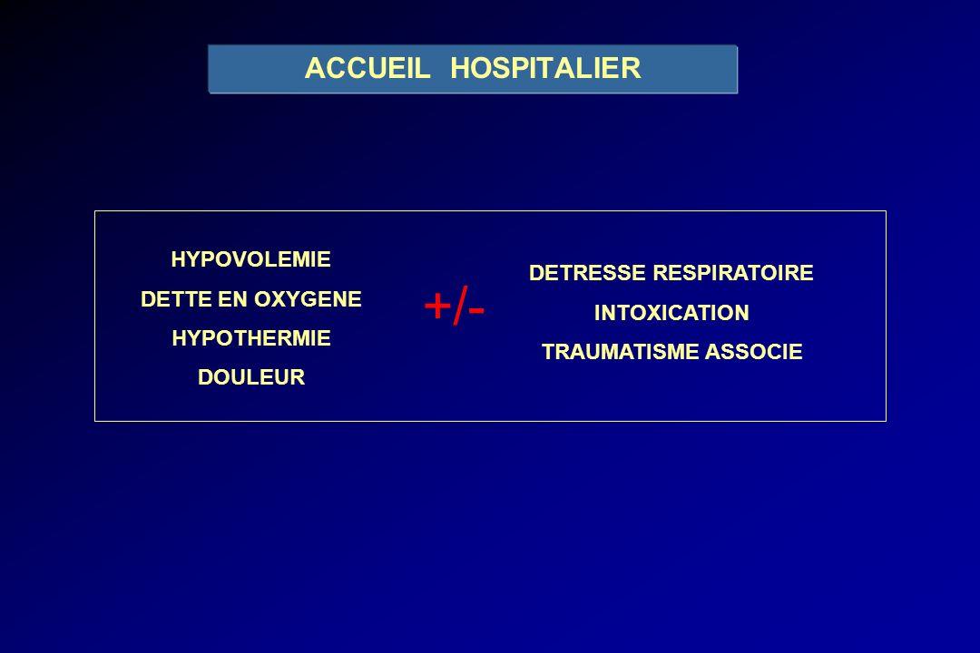 HYPOVOLEMIE DETTE EN OXYGENE HYPOTHERMIE DOULEUR DETRESSE RESPIRATOIRE INTOXICATION TRAUMATISME ASSOCIE +/- ACCUEIL HOSPITALIER