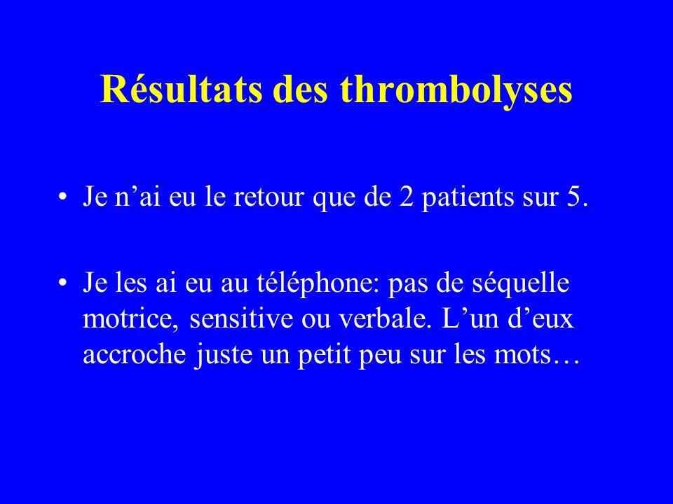 Résultats des thrombolyses Je nai eu le retour que de 2 patients sur 5. Je les ai eu au téléphone: pas de séquelle motrice, sensitive ou verbale. Lun