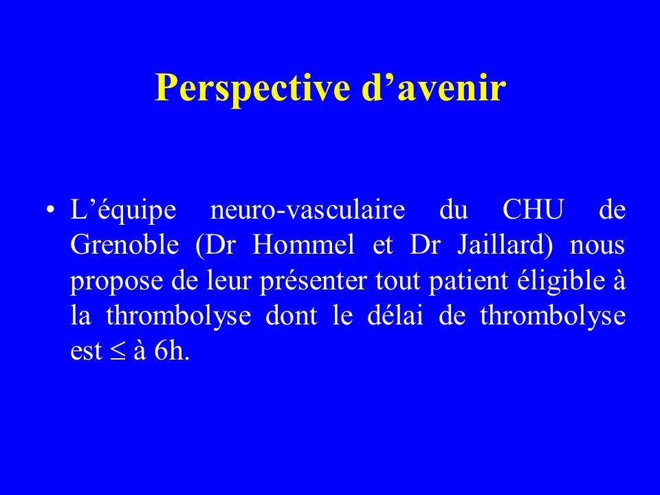 Perspective davenir Léquipe neuro-vasculaire du CHU de Grenoble (Dr Hommel et Dr Jaillard) nous propose de leur présenter tout patient éligible à la thrombolyse dont le délai de thrombolyse est à 6h.