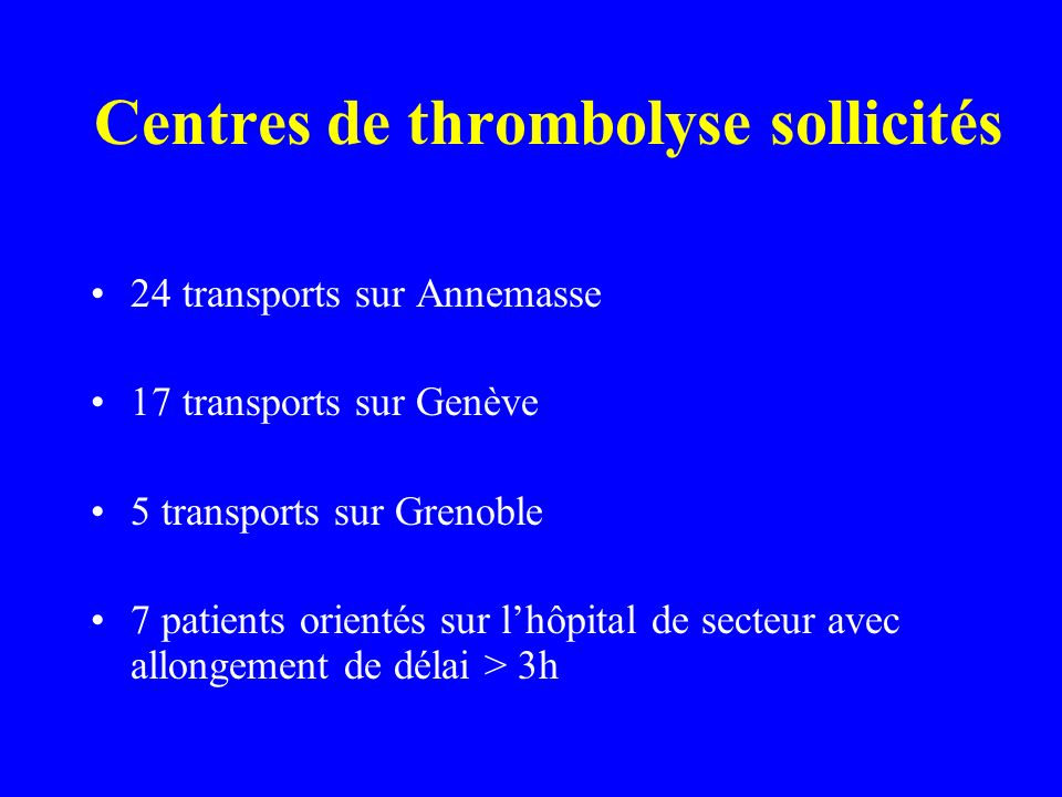 Centres de thrombolyse sollicités 24 transports sur Annemasse 17 transports sur Genève 5 transports sur Grenoble 7 patients orientés sur lhôpital de s