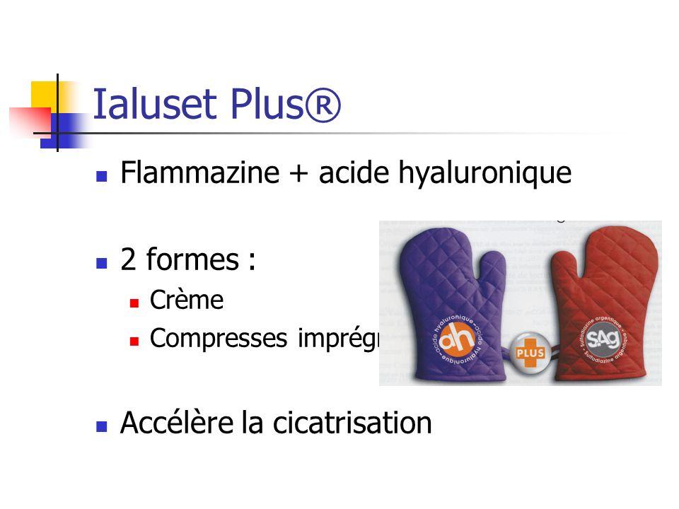 Ialuset Plus® Flammazine + acide hyaluronique 2 formes : Crème Compresses imprégnées Accélère la cicatrisation