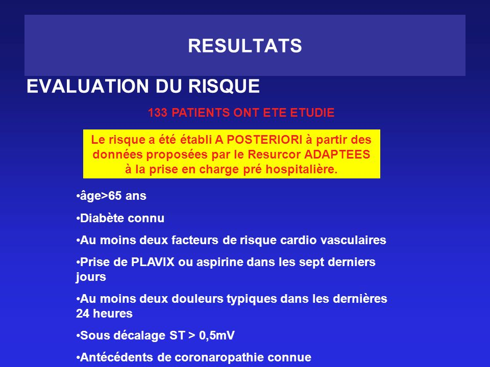 RESULTATS EVALUATION DU RISQUE 133 PATIENTS ONT ETE ETUDIE Le risque a été établi A POSTERIORI à partir des données proposées par le Resurcor ADAPTEES à la prise en charge pré hospitalière.