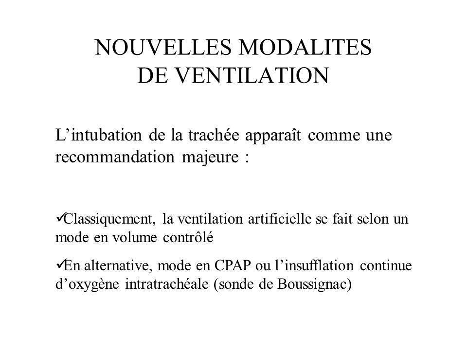 NOUVELLES MODALITES DE VENTILATION Lintubation de la trachée apparaît comme une recommandation majeure : Classiquement, la ventilation artificielle se