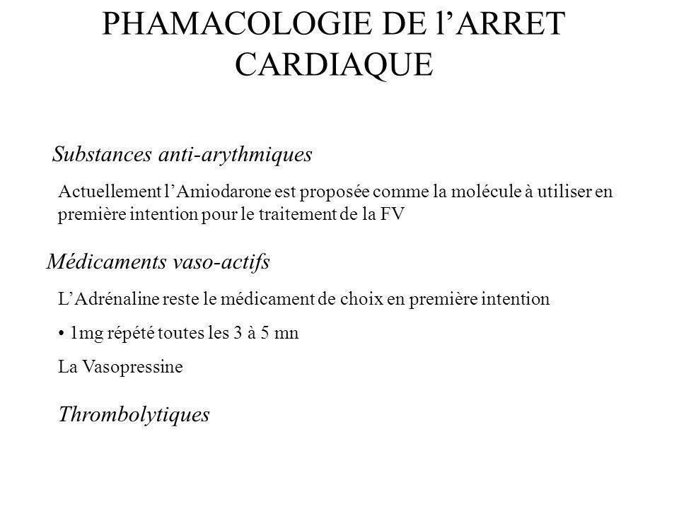 PHAMACOLOGIE DE lARRET CARDIAQUE Substances anti-arythmiques Actuellement lAmiodarone est proposée comme la molécule à utiliser en première intention