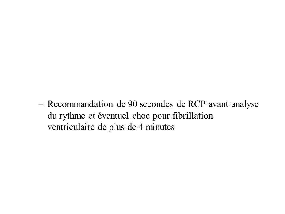 –Recommandation de 90 secondes de RCP avant analyse du rythme et éventuel choc pour fibrillation ventriculaire de plus de 4 minutes