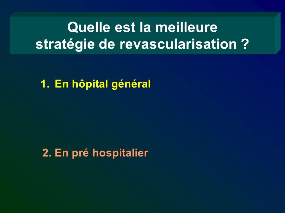 Quelle est la meilleure stratégie de revascularisation ? 1.En hôpital général 2. En pré hospitalier