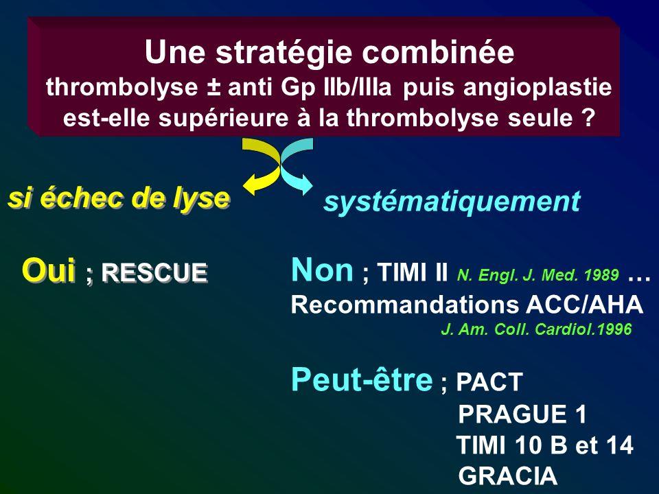 Une stratégie combinée thrombolyse ± anti Gp IIb/IIIa puis angioplastie est-elle supérieure à la thrombolyse seule ? si échec de lyse Oui ; RESCUE si