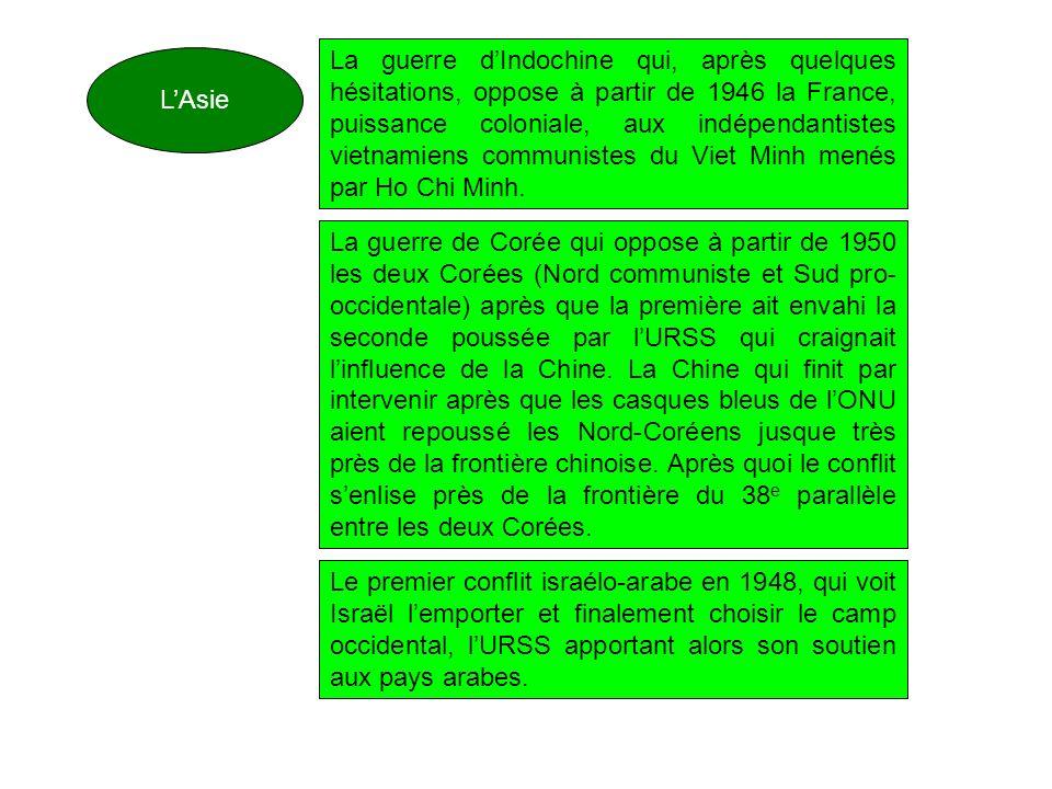 LAsie La guerre dIndochine qui, après quelques hésitations, oppose à partir de 1946 la France, puissance coloniale, aux indépendantistes vietnamiens c