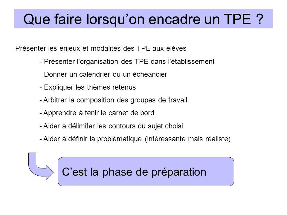 - Présenter les enjeux et modalités des TPE aux élèves - Présenter lorganisation des TPE dans létablissement - Donner un calendrier ou un échéancier -
