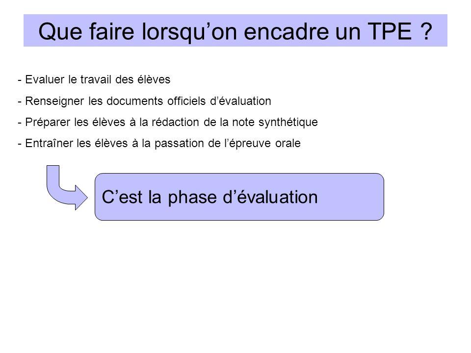 Que faire lorsquon encadre un TPE ? Cest la phase dévaluation - Evaluer le travail des élèves - Renseigner les documents officiels dévaluation - Prépa