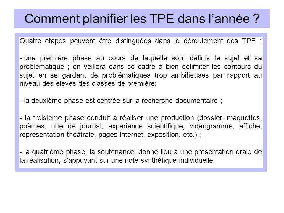 Comment planifier les TPE dans lannée ? Quatre étapes peuvent être distinguées dans le déroulement des TPE : - une première phase au cours de laquelle