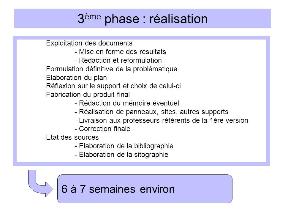 3 ème phase : réalisation Exploitation des documents - Mise en forme des résultats - Rédaction et reformulation Formulation définitive de la problémat
