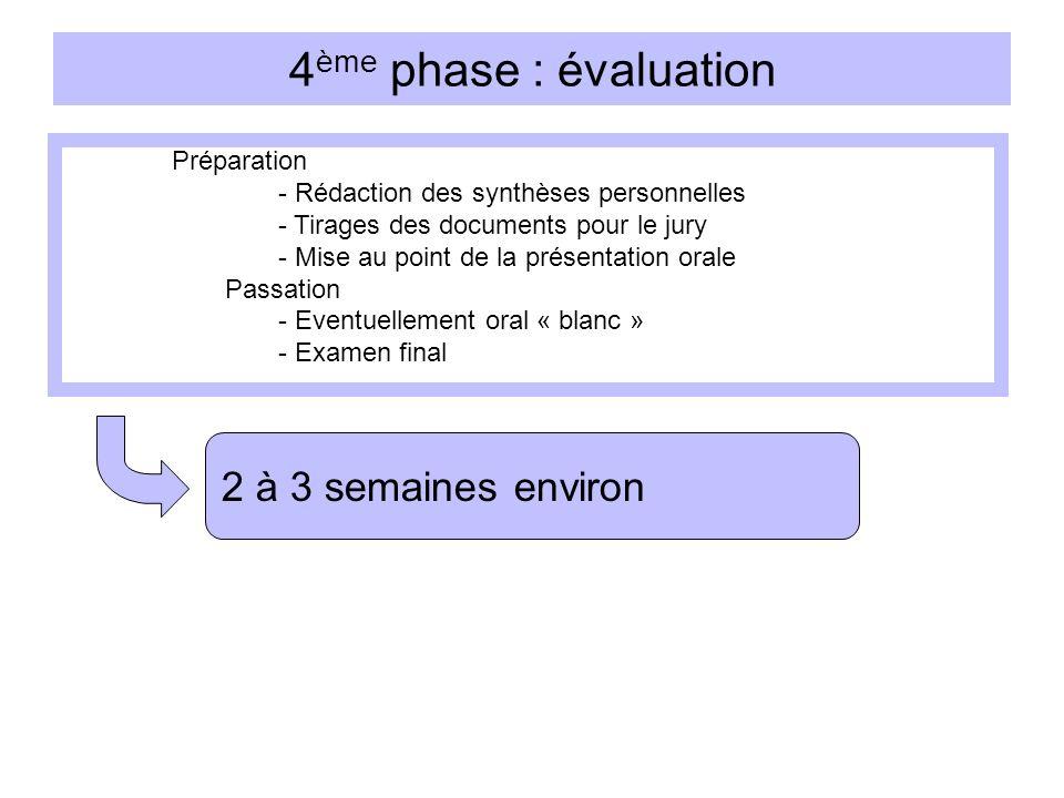 4 ème phase : évaluation Préparation - Rédaction des synthèses personnelles - Tirages des documents pour le jury - Mise au point de la présentation or