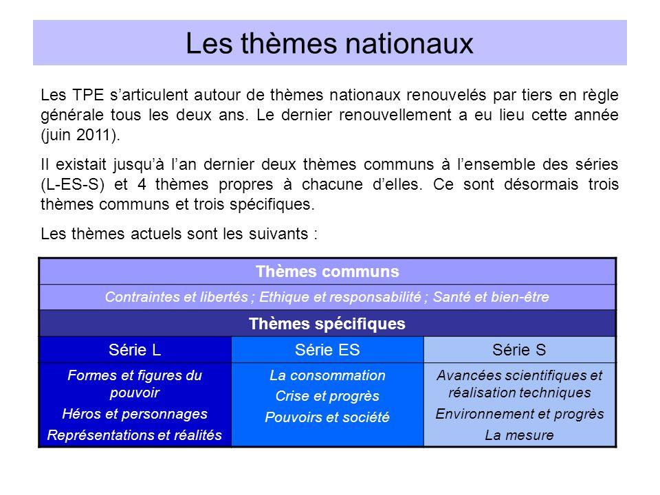 Les thèmes nationaux Les TPE sarticulent autour de thèmes nationaux renouvelés par tiers en règle générale tous les deux ans. Le dernier renouvellemen