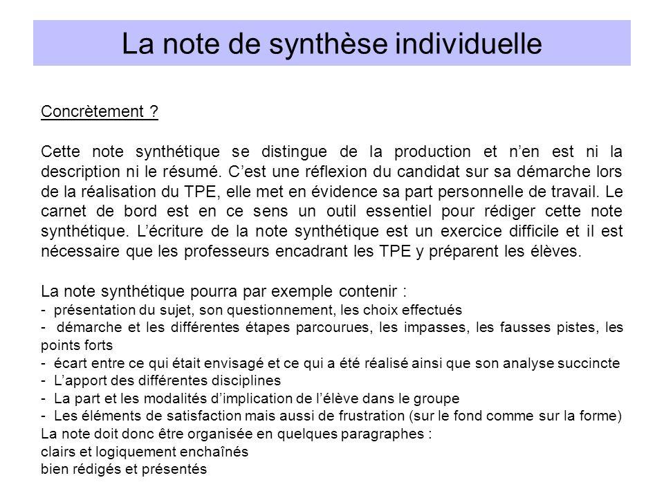 Concrètement ? Cette note synthétique se distingue de la production et nen est ni la description ni le résumé. Cest une réflexion du candidat sur sa d