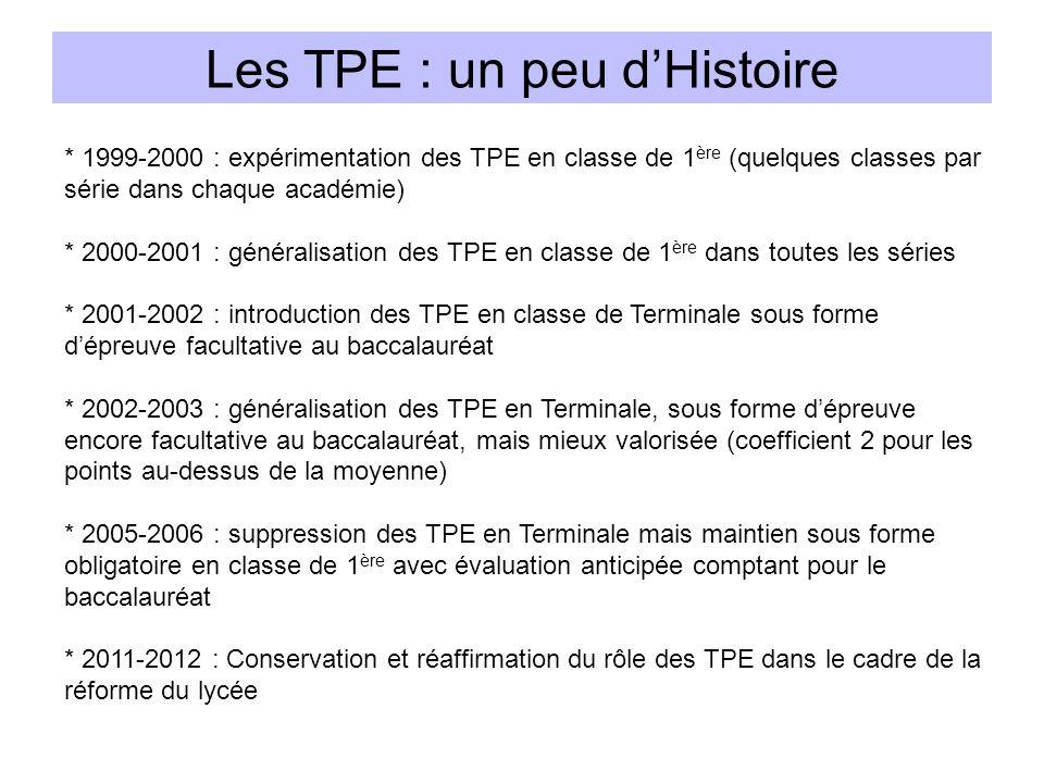 Les TPE : un peu dHistoire * 1999-2000 : expérimentation des TPE en classe de 1 ère (quelques classes par série dans chaque académie) * 2000-2001 : gé
