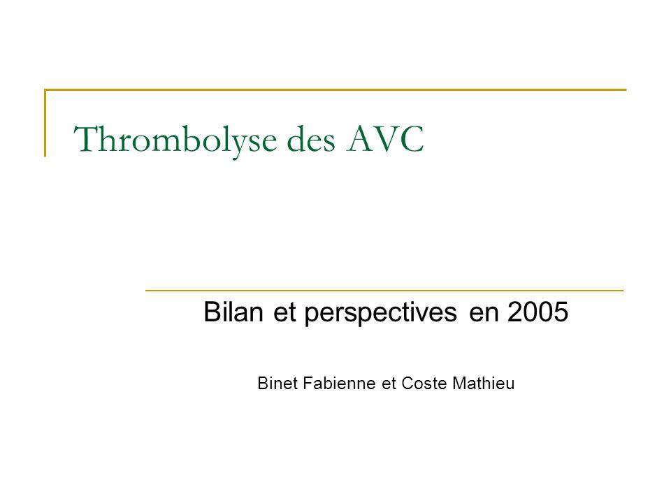 Thrombolyse des AVC Bilan et perspectives en 2005 Binet Fabienne et Coste Mathieu