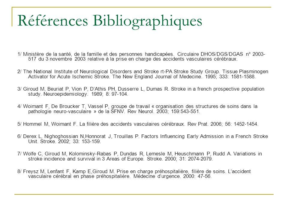 Références Bibliographiques 1/ Ministère de la santé, de la famille et des personnes handicapées. Circulaire DHOS/DGS/DGAS n° 2003- 517 du 3 novembre