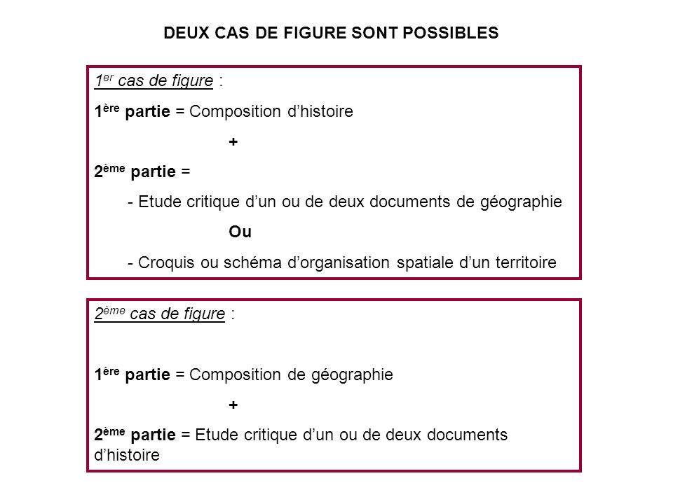 1 er cas de figure : 1 ère partie = Composition dhistoire + 2 ème partie = - Etude critique dun ou de deux documents de géographie Ou - Croquis ou sch