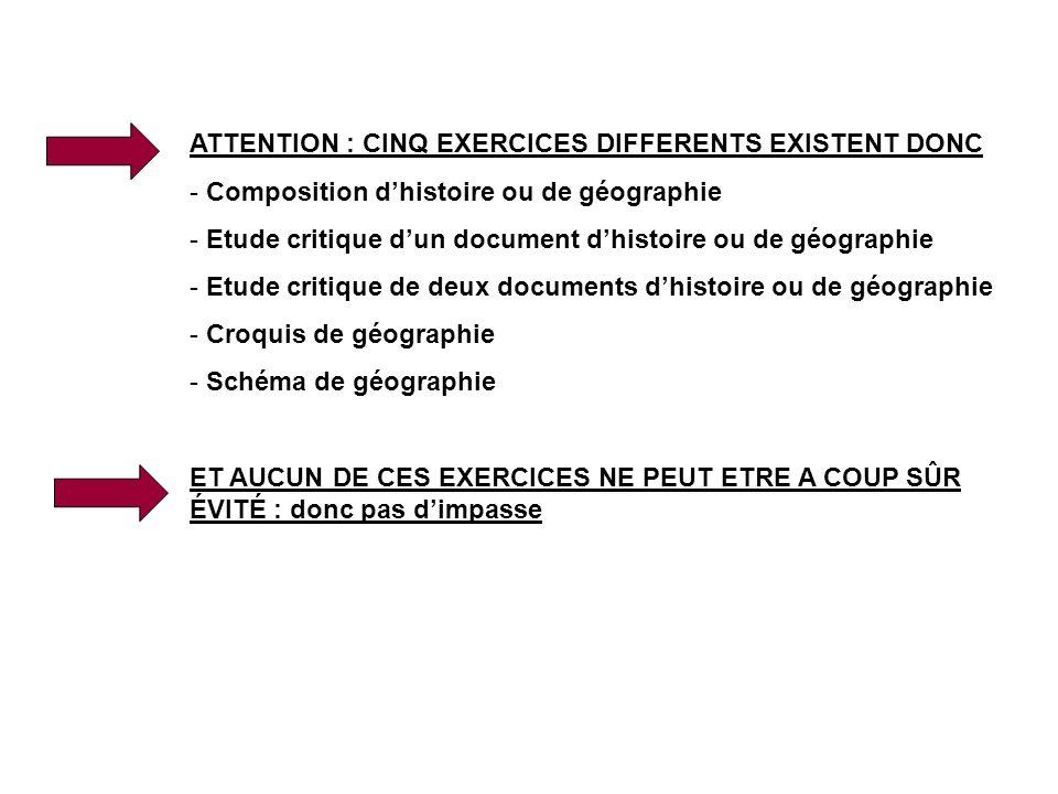 ATTENTION : CINQ EXERCICES DIFFERENTS EXISTENT DONC - Composition dhistoire ou de géographie - Etude critique dun document dhistoire ou de géographie