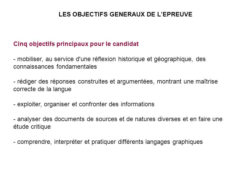 Cinq objectifs principaux pour le candidat - mobiliser, au service d'une réflexion historique et géographique, des connaissances fondamentales - rédig