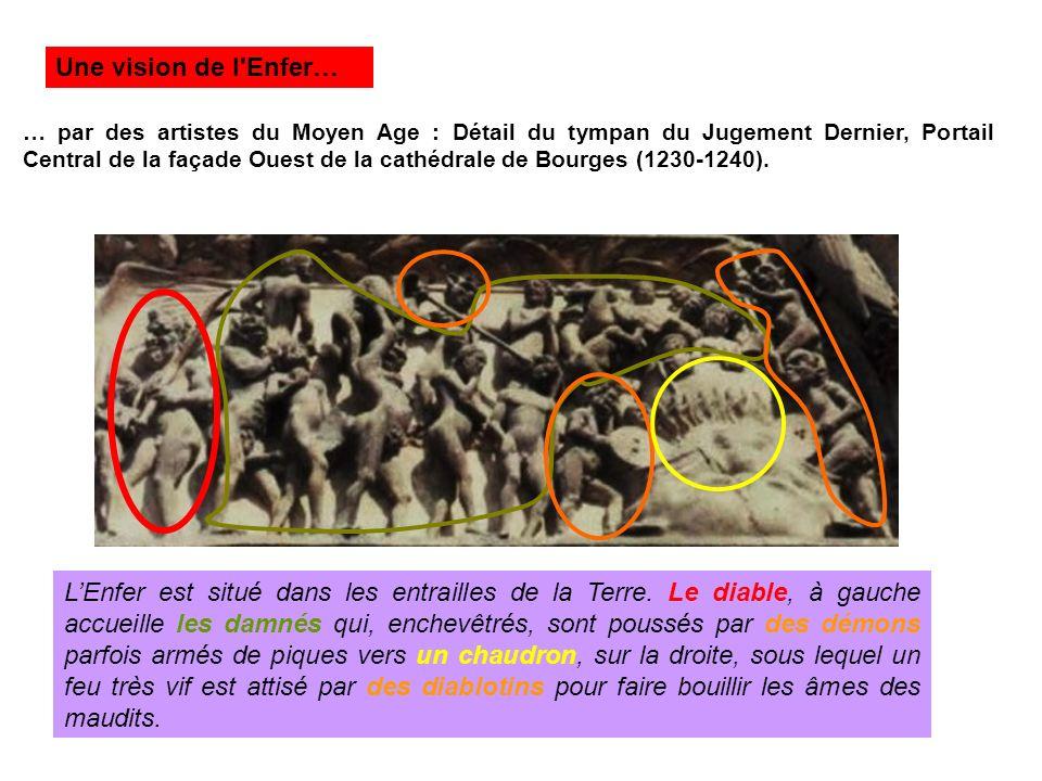 … par des artistes du Moyen Age : Détail du tympan du Jugement Dernier, Portail Central de la façade Ouest de la cathédrale de Bourges (1230-1240). LE