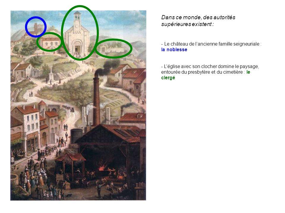 Dans ce monde, des autorités supérieures existent : - Léglise avec son clocher domine le paysage, entourée du presbytère et du cimetière : le clergé -