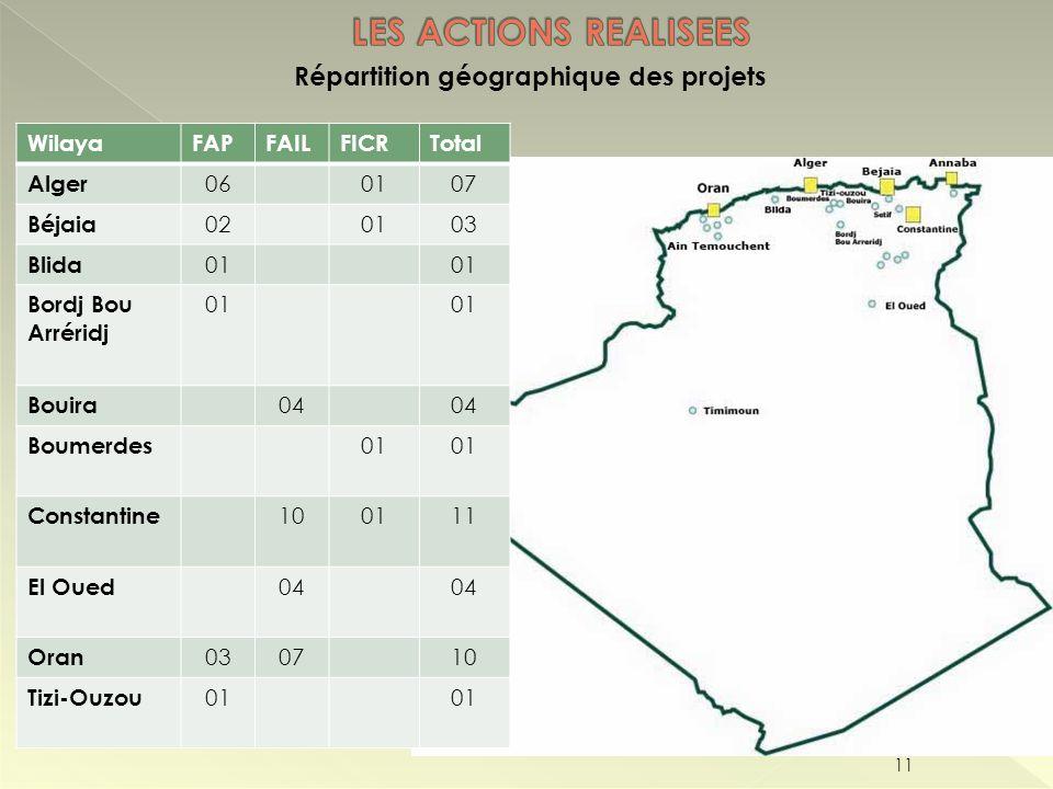 Répartition géographique des projets 11 WilayaFAPFAILFICRTotal Alger 060107 Béjaia 020103 Blida 01 Bordj Bou Arréridj 01 Bouira 04 Boumerdes 01 Consta