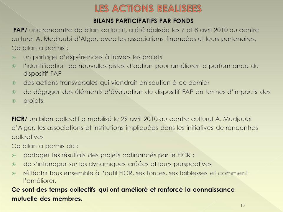 BILANS PARTICIPATIFS PAR FONDS FAP/ une rencontre de bilan collectif, a été réalisée les 7 et 8 avril 2010 au centre culturel A. Medjoubi dAlger, avec