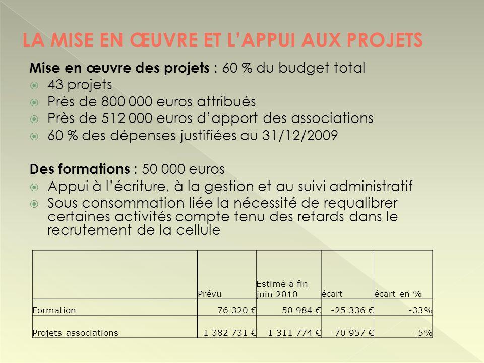 Mise en œuvre des projets : 60 % du budget total 43 projets Près de 800 000 euros attribués Près de 512 000 euros dapport des associations 60 % des dé