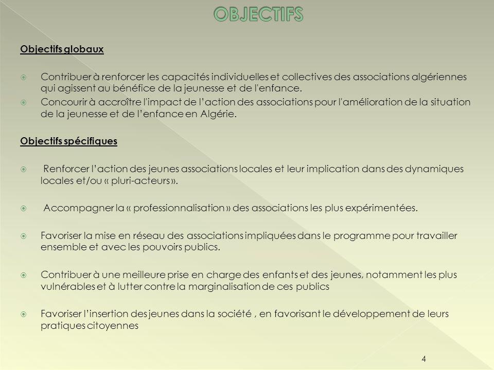 Objectifs globaux Contribuer à renforcer les capacités individuelles et collectives des associations algériennes qui agissent au bénéfice de la jeunes