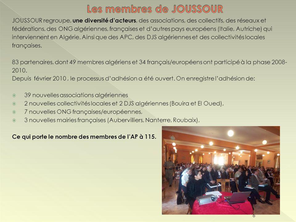 JOUSSOUR regroupe, une diversité dacteurs, des associations, des collectifs, des réseaux et fédérations, des ONG algériennes, françaises et dautres pa