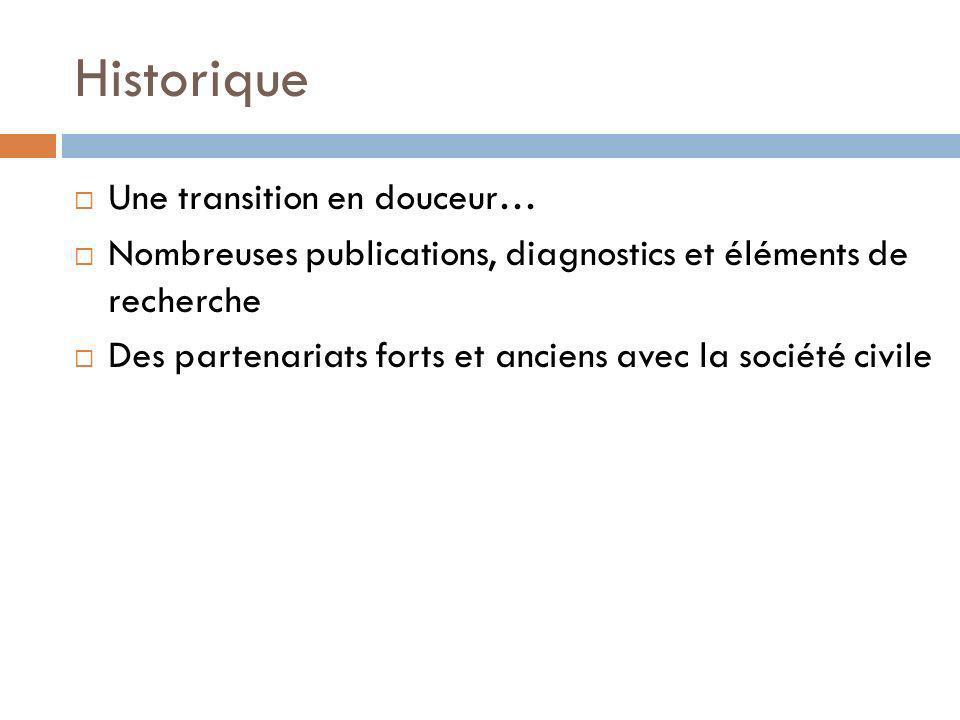 Historique Une transition en douceur… Nombreuses publications, diagnostics et éléments de recherche Des partenariats forts et anciens avec la société
