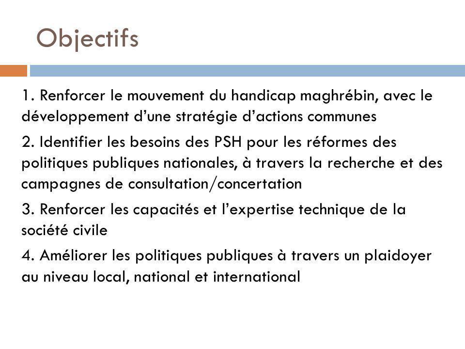 Objectifs 1. Renforcer le mouvement du handicap maghrébin, avec le développement dune stratégie dactions communes 2. Identifier les besoins des PSH po