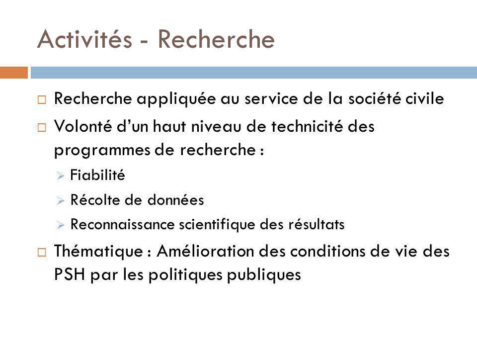 Activités - Recherche Recherche appliquée au service de la société civile Volonté dun haut niveau de technicité des programmes de recherche : Fiabilit