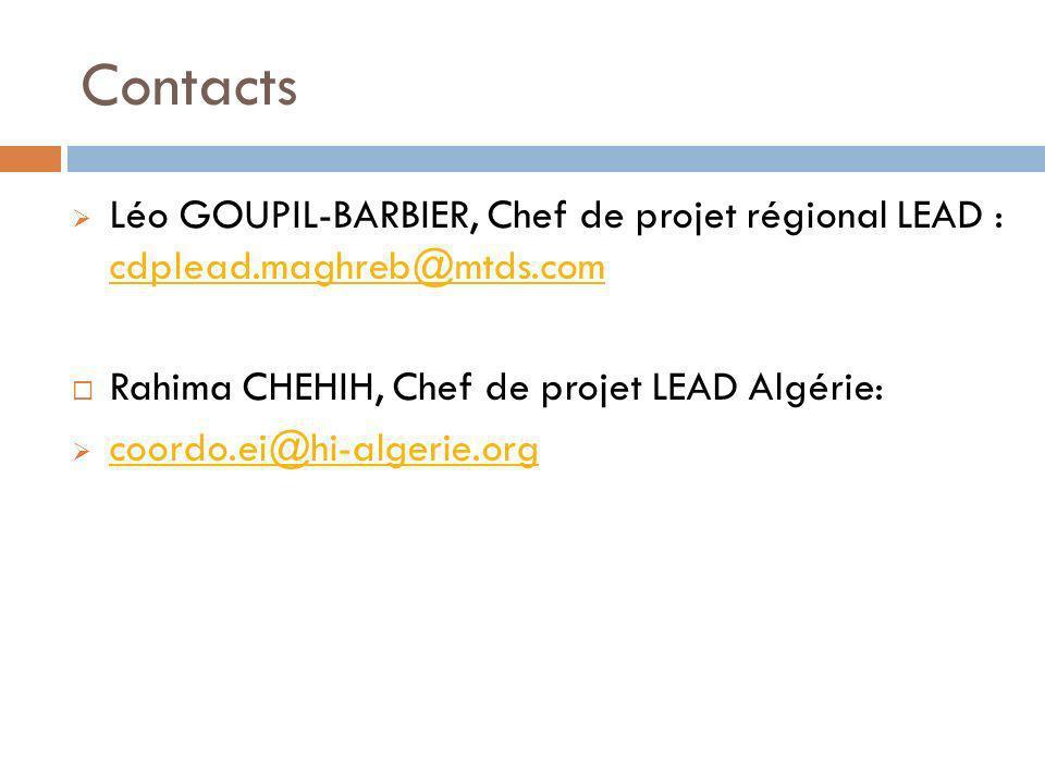 Contacts Léo GOUPIL-BARBIER, Chef de projet régional LEAD : cdplead.maghreb@mtds.com cdplead.maghreb@mtds.com Rahima CHEHIH, Chef de projet LEAD Algér