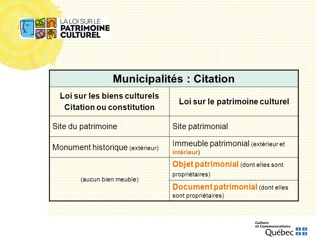 Municipalités : Citation Loi sur les biens culturels Citation ou constitution Loi sur le patrimoine culturel Site du patrimoineSite patrimonial Monume