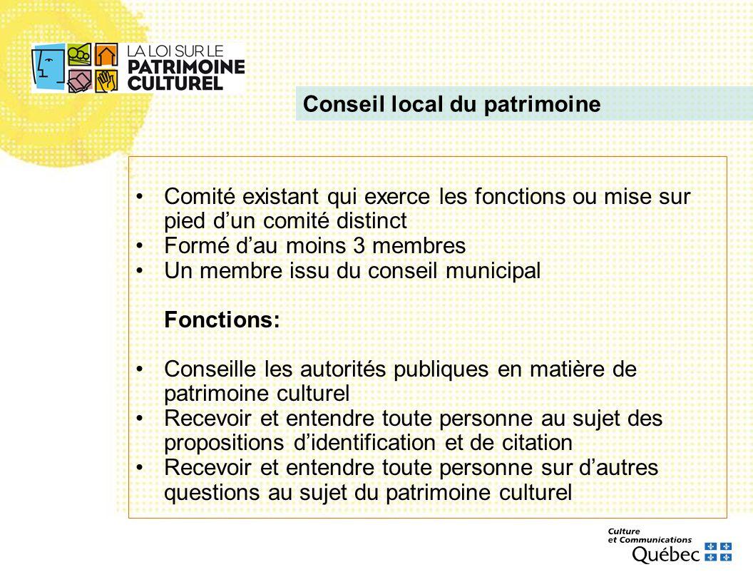 Comité existant qui exerce les fonctions ou mise sur pied dun comité distinct Formé dau moins 3 membres Un membre issu du conseil municipal Fonctions: