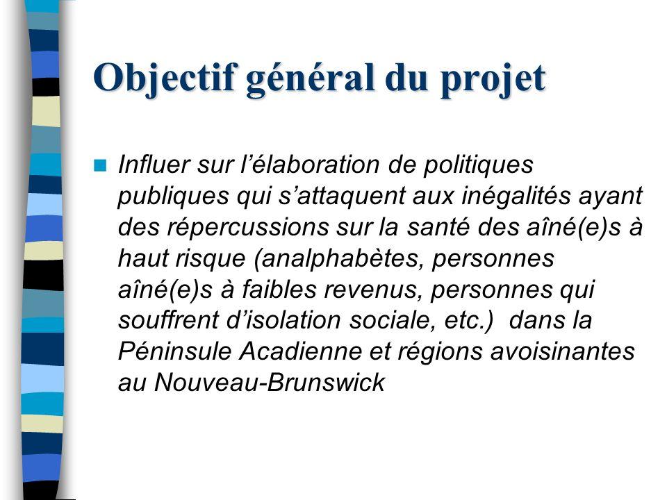 Objectif général du projet Influer sur lélaboration de politiques publiques qui sattaquent aux inégalités ayant des répercussions sur la santé des aîné(e)s à haut risque (analphabètes, personnes aîné(e)s à faibles revenus, personnes qui souffrent disolation sociale, etc.) dans la Péninsule Acadienne et régions avoisinantes au Nouveau-Brunswick