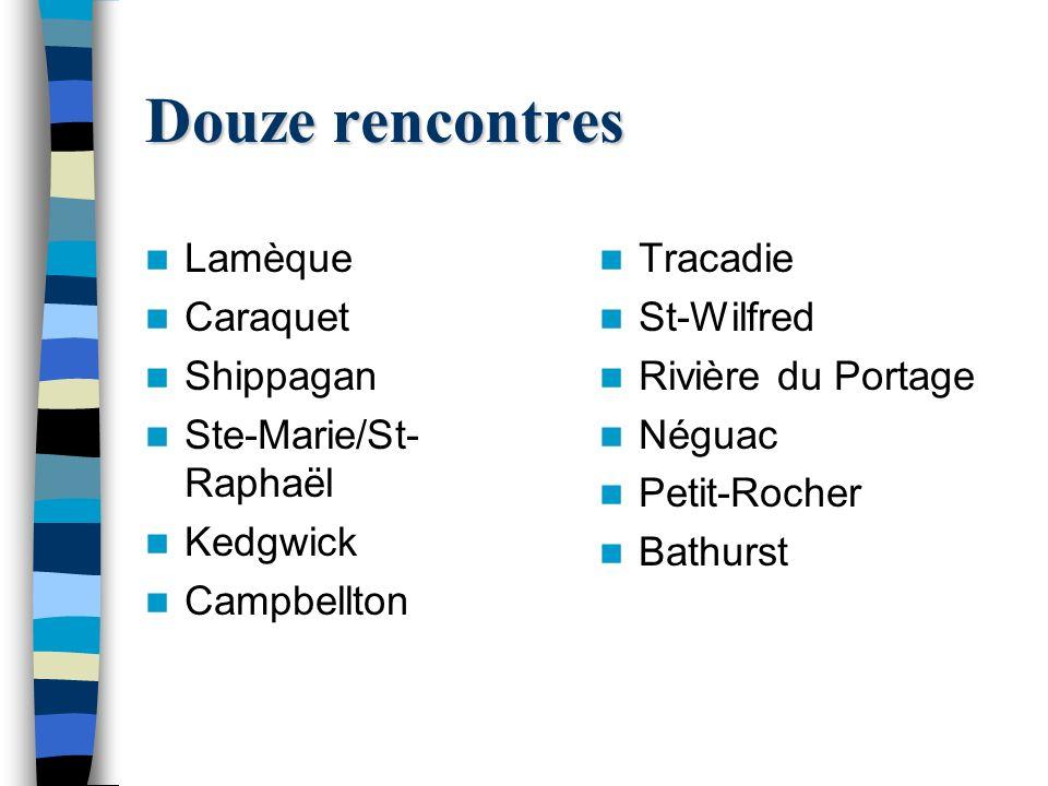 Douze rencontres Lamèque Caraquet Shippagan Ste-Marie/St- Raphaël Kedgwick Campbellton Tracadie St-Wilfred Rivière du Portage Néguac Petit-Rocher Bathurst